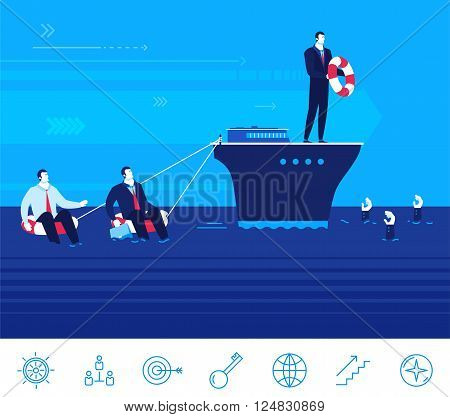 Flat design vector concept illustration. Teamwork. Businessman on the ship helps entrepreneurs to survive and not to drown Vector clipart. Icons set.