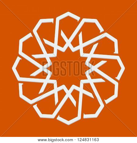 Islamic or arabic motif, sacred geometry, star mandala, round geometrical symbol for pattern, background or other purposes. Vector illustration