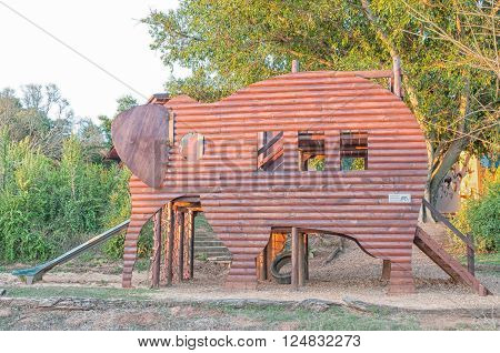 ADDO ELEPHANT NATIONAL PARK, SOUTH AFRICA - FEBRUARY 23, 2016: Late afternoon at a childrens playground in the form of an elephant at the main camp