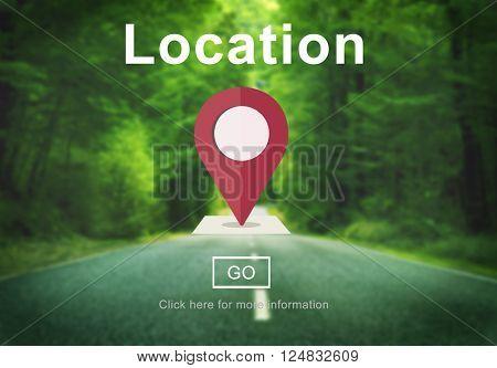 Location Destination map Navigation Place Route Concept
