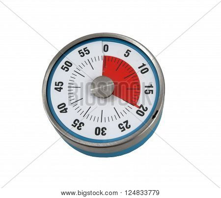 Kitchen timer set for 20 Minutes on a white background