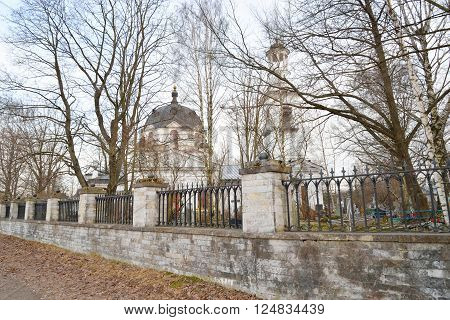 Church of St. Alexander Nevsky and old cemetery in Ust-Izhora town St.Petersburg suburb Russia.