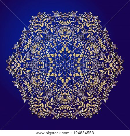 Mandala amulet. Round vintage ornament medallion floral mandala. Esoteric gold symbol on a blue background. Om sign in the eastern style indian ethnic pattern. Hand drawn. It can be used for tattoo prints on t-shirts design and ad restaurants wedding card