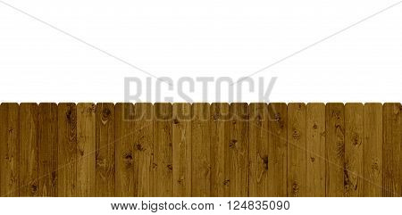 Isolated wooden fence with parallel brown planks