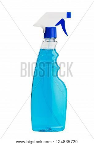 bottle of window cleaner for windows and mirrors isolated on white background