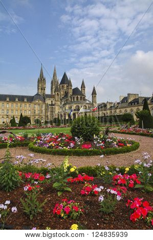 Caen (Calvados Normandie France): gardens of the medieval abbey known as Abbaye aux Hommes built from 11th century