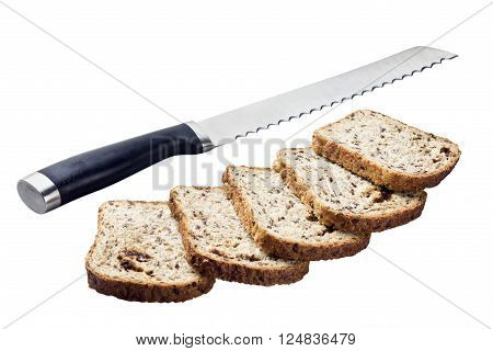 fresh bread and a knife isolated on white background