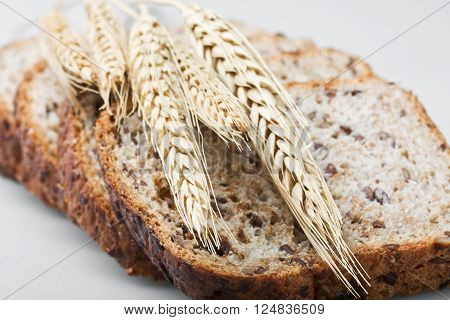 Bread and ears on gray background organic