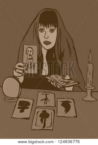 Diviner vintage image of woman with tarots