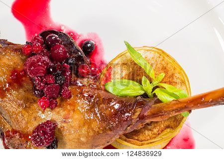 Delicious duck leg confit with red berry sauce and baked sliced apple covered with cinnamon as a garnish. Macro. Photo can be used as a whole background.