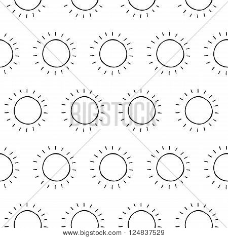 Trendy monochrome seamless vector pattern with hand drawn ink sun for fabric, cards, invitations, wrapping paper, stationery and web backgrounds. Creative black and white cute whimsical summer print.