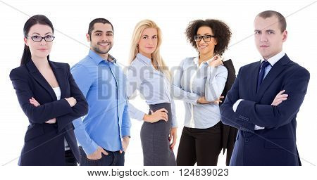 Multicultural Team Of Young Business People Isolated On White