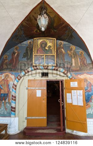 Tutaev, Russia - March 28, 2016.  entrance to Resurrection Cathedral in a Tutaev, Russia. Golden Ring Travel