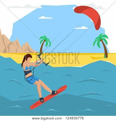 Vector kitesurfing girl concept. Flat style. Web infographics