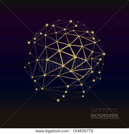 Abstract gold geometric lattice, the scope of molecules, the molecules in the circle. Round composition of the molecular lattice. Color composition vector for your design.