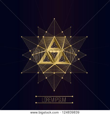 Sacred geometry forms, shapes of lines, logo, sign, symbol, emblem, badge, award, shape, pentagrams. 3D volumetric shape of lines and a triangle