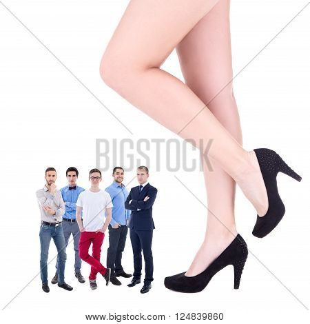 Feminism Concept - Giant Female Legs And Little Business Men Isolated On White