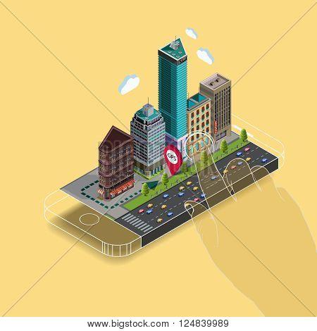 Flat isometric map on mobile, GPS navigation app infographic concept. Flat landscape street location isometric concept on the phone. Application territory building in the natural landscape.