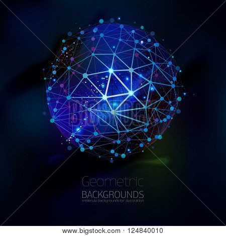 Abstract geometric lattice, the scope of molecules, the molecules in the circle. Round composition of the molecular lattice on black background. Color vector. Geometric triangle forms