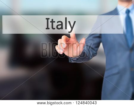 Name - Businessman Hand Pressing Button On Touch Screen Interface.