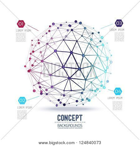 Abstract geometric lattice, the scope of molecules, the molecules in the circle. Round composition of the molecular lattice. Color composition vector for your design.