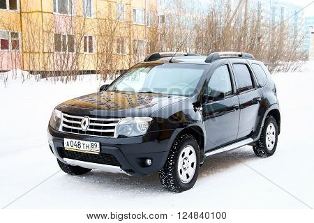 NOVYY URENGOY RUSSIA - MARCH 20 2016: Motor car Renault Duster in the city street.