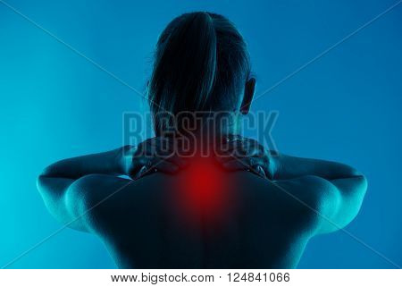 Painful neck. Backbone illness, therapy and treatment concept.