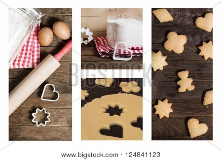 Flour, rolling pin, eggs and moulds for cookies on wooden table, collage