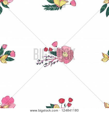 Floral Seamless Vintage Pattern With Wildflowers and Butterfly on White Background