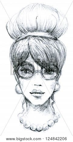 Sketch of woman retro with glasses. Hand-drawn illustration. High detailed drawing. Fashion model portrait.
