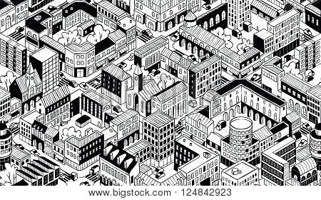 City Urban Blocks Seamless Pattern (Small) in isometric projection is hand drawing with perimeter blocks courtyards streets and traffic. Illustration is in eps8 vector mode pattern is repetitive.