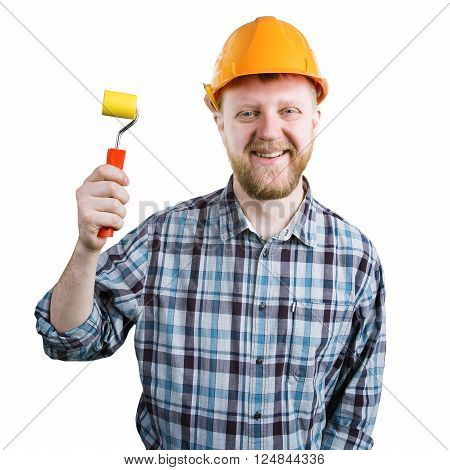 Man in an orange helmet with a paint roller