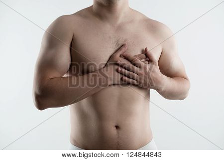 Heart disease, protect and treatment. Male suffering from coronary illness.