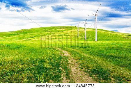Landscape of ecological park of alternative energy installation.