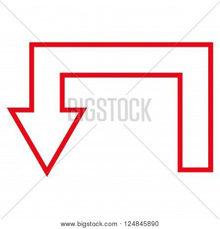 Return Arrow vector icon. Style is outline icon symbol, red color, white background.