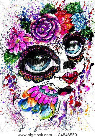 Girl with sugar skull makeup in flower crown watercolor painting.