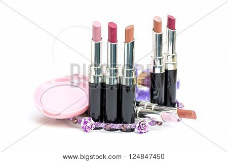 Selective Focus Natural Tone Shiny Lip Sticks Whit Pink Blusher