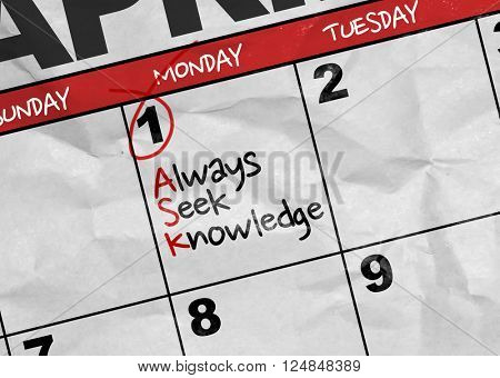 Concept image of a Calendar with the text: Always Seek Knowledge