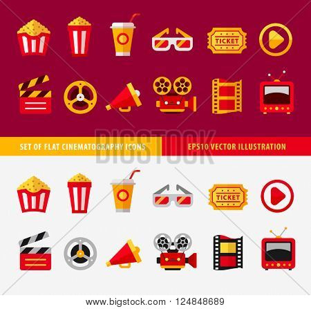 Set of flat cinema icons for online movie theater vector illustration. Transparent objects used lights and shadows drawing