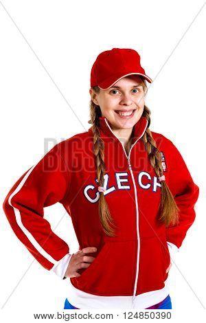 sports fan in national jersey of Czech Republic