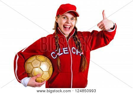 girl in national jersey of Czech Republic on the white