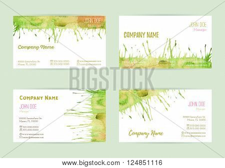 Set of hand painted watercolor horizontal business card templates. Colorful bright abstract green yellow and orange brush stocks and splashes on a white background. Complied with standard size.