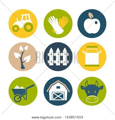 Farm and gardening flat icons vector set