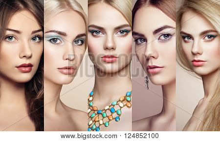 Beauty collage. Faces of women. Group of people. Fashion photo. Makeup and jewelry. Eyelashes. Cosmetic Eyeshadow. Highlighting