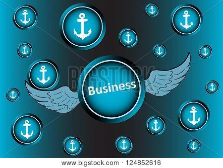 The winged icon with an inscription business breaks through anchors