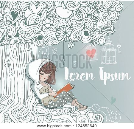 little cute girl reading under magic tree
