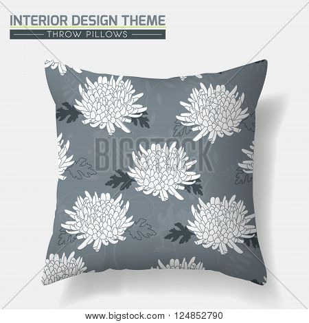 Decorative Floral Throw Pillow design vector template. Original pattern is complete masked. Interior design element. Creative Sofa cushion. Vector design is layered editable