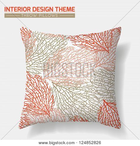 Coral Pattern Decorative Throw Pillow design vector template. Original pattern is complete masked. Interior design element. Creative Sofa cushion. Vector design is layered editable