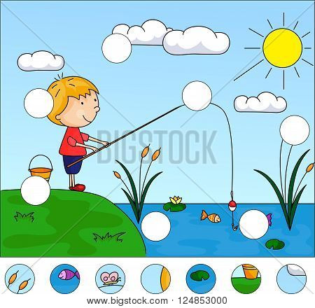Boy Fisherman With Fishing Rod On The Lake. Complete The Puzzle And Find The Missing Parts Of The Pi
