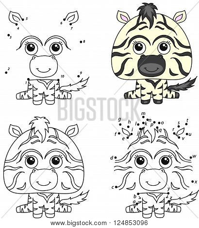 Cartoon Zebra. Coloring Book And Dot To Dot Game For Kids